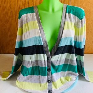 2XL Long (Green) Striped Old Navy Cardigan